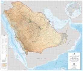 Large detailed map of Saudi Arabian with cities and towns