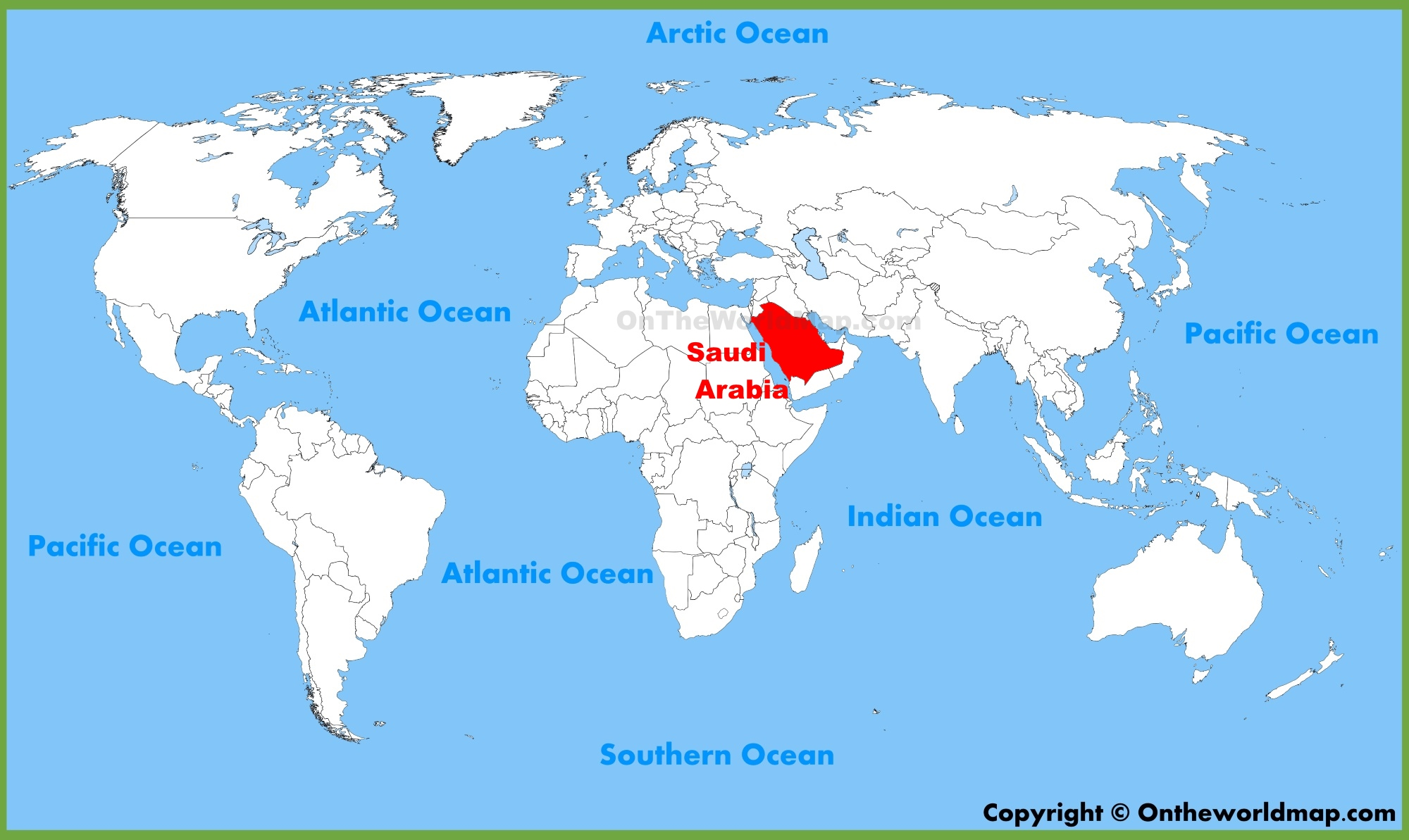 saudi arabia map of the world Saudi Arabia Location On The World Map
