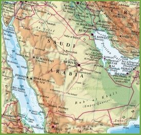 Saudi Arabian physical map