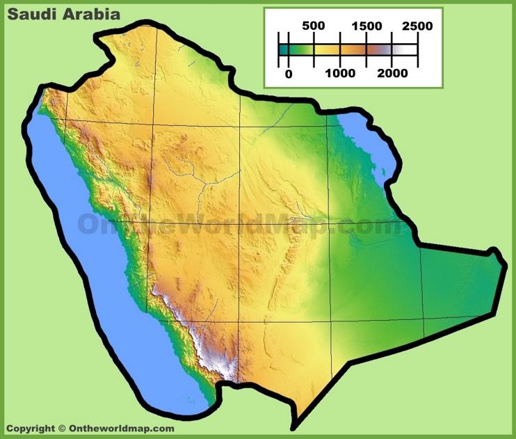 Topographic map of Saudi Arabia