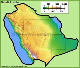 Topographic map of Saudi Arabian