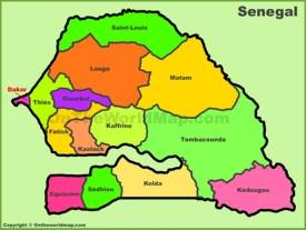 Administrative divisions map of Senegal