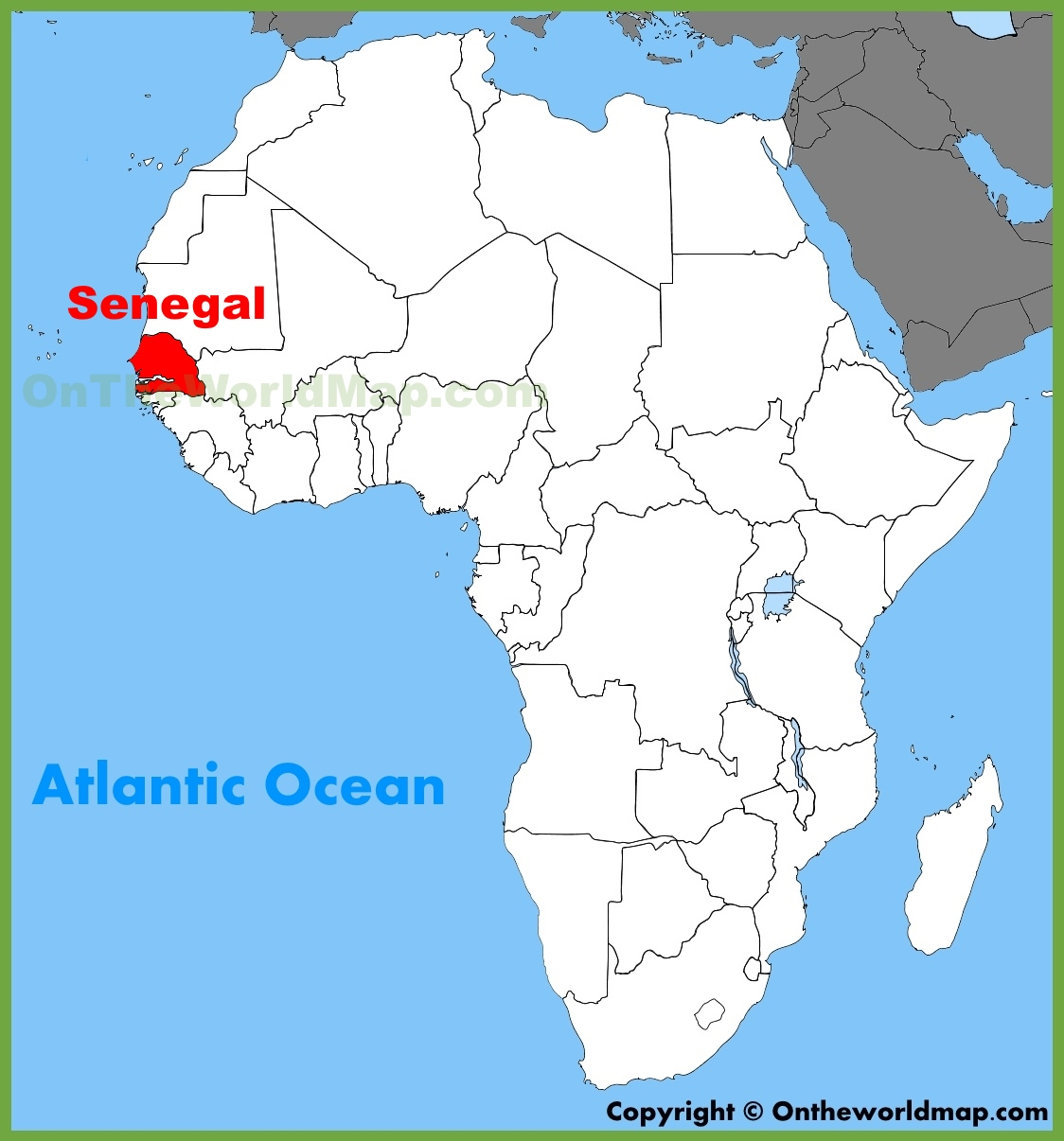 dakar senegal africa map