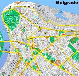 Belgrade Stari Grad Tourist Map
