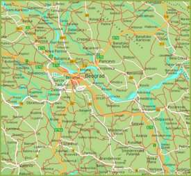 Road Map of Surroundings of Belgrade