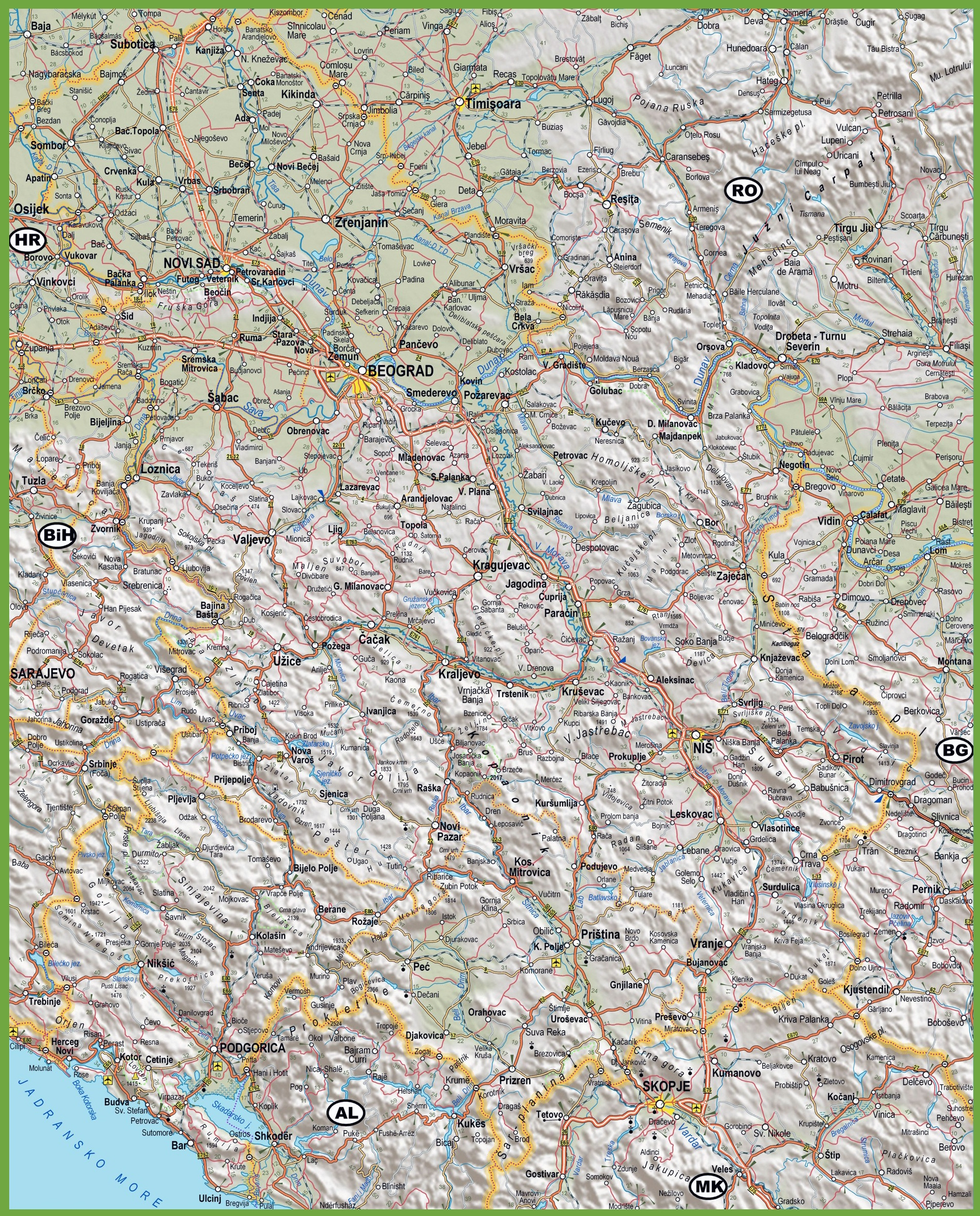 Large detailed map of Serbia with cities and towns