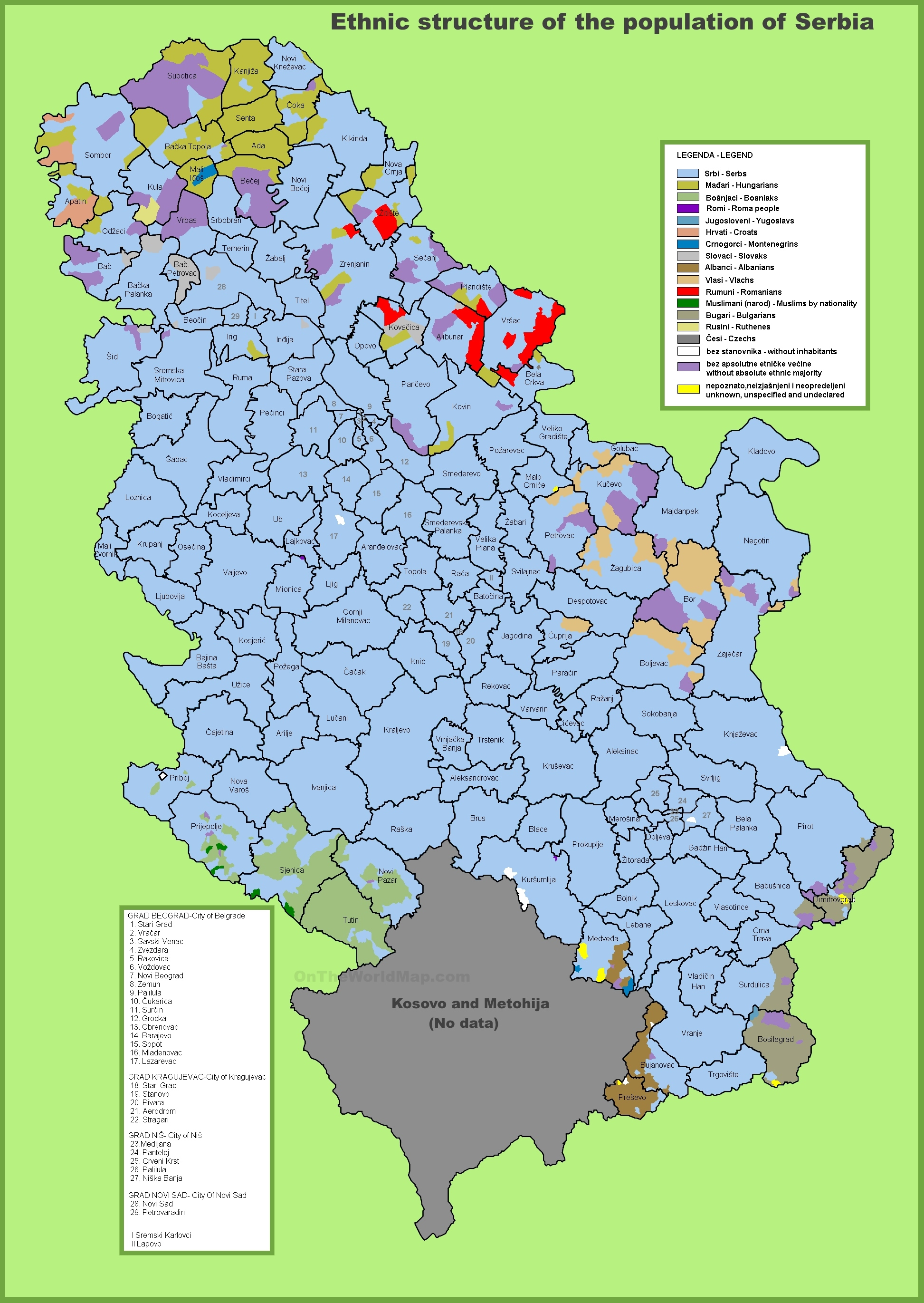 Map of ethnic groups in Serbia