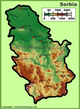 Serbia physical map