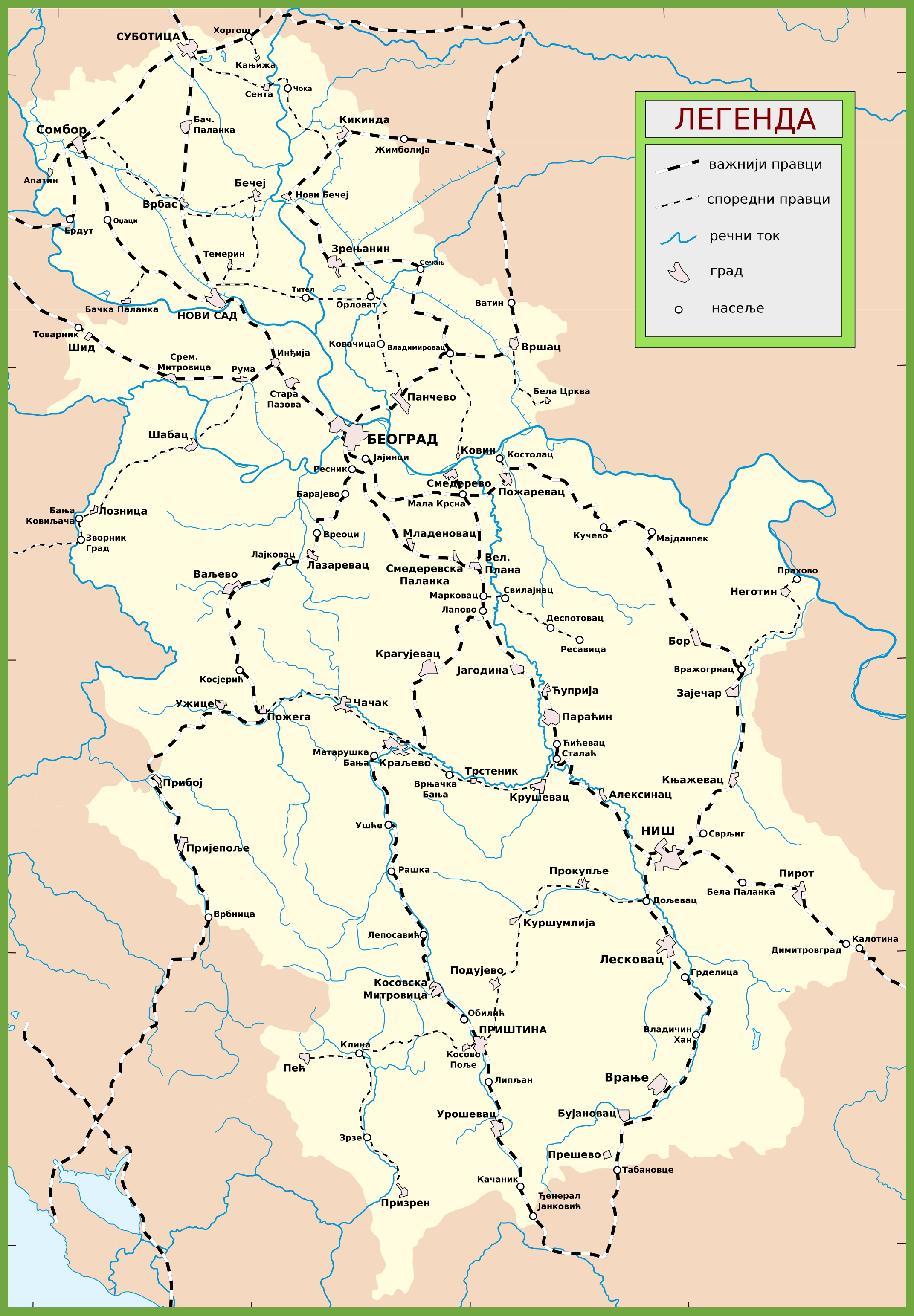 Serbia railway map