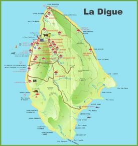La Digue island map