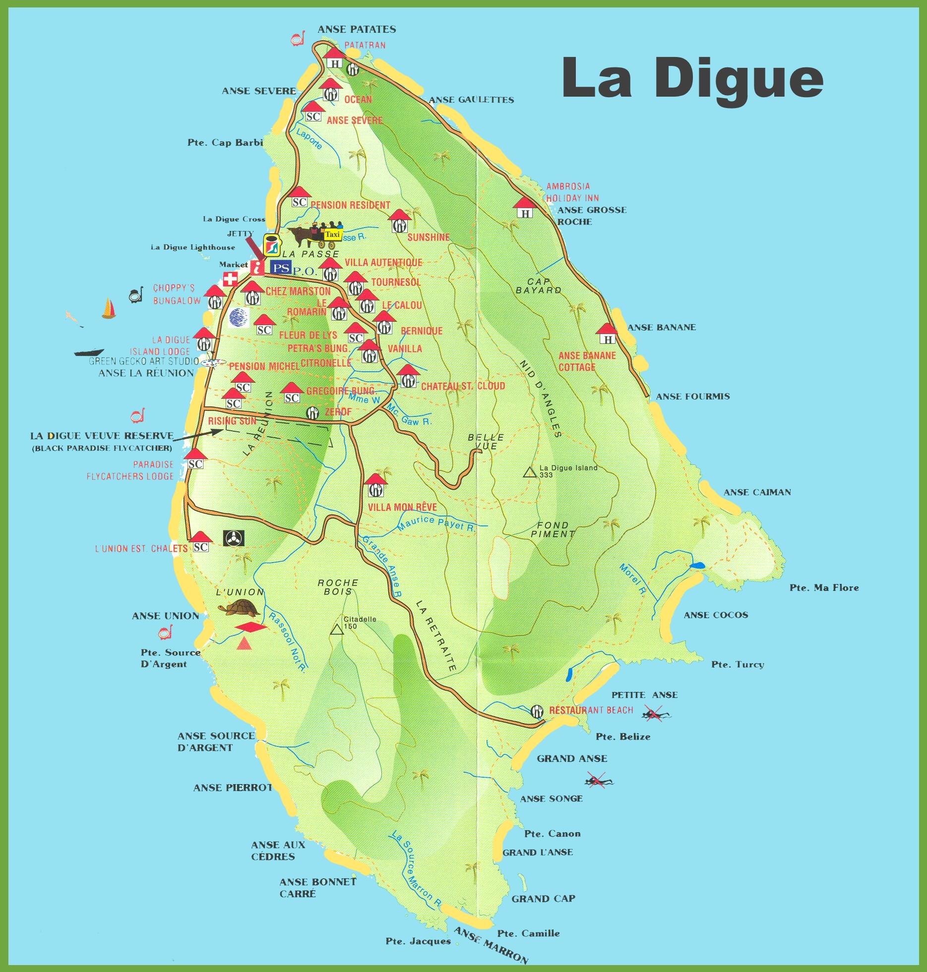 La Digue island map