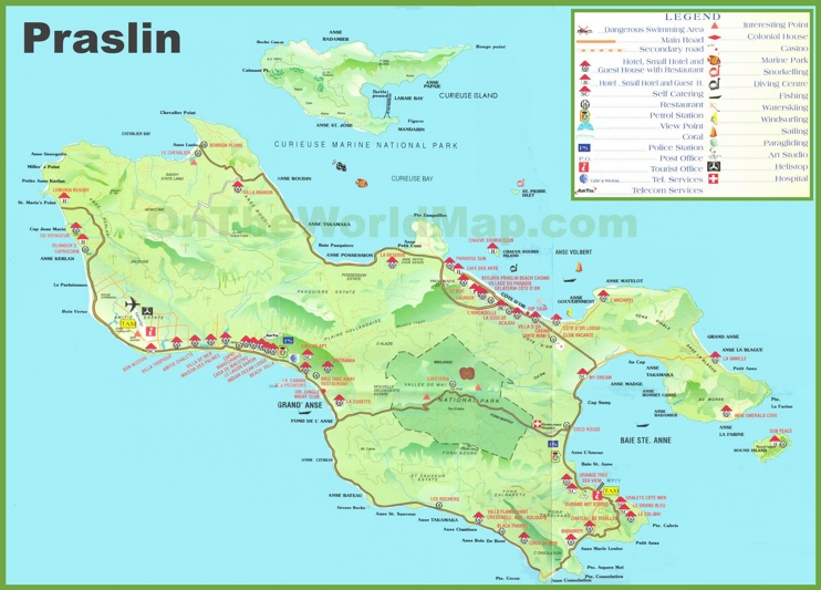Large detailed tourist map of Praslin island