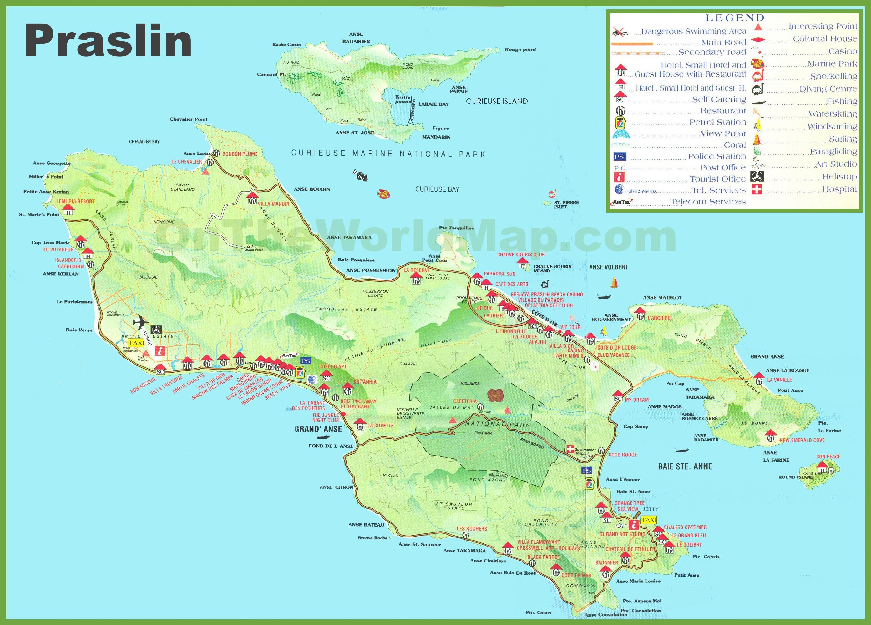 Praslin Island Seychelles World Map Large detailed tourist map of Praslin island