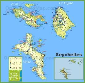 Large detailed tourist map of Seychelles with hotels