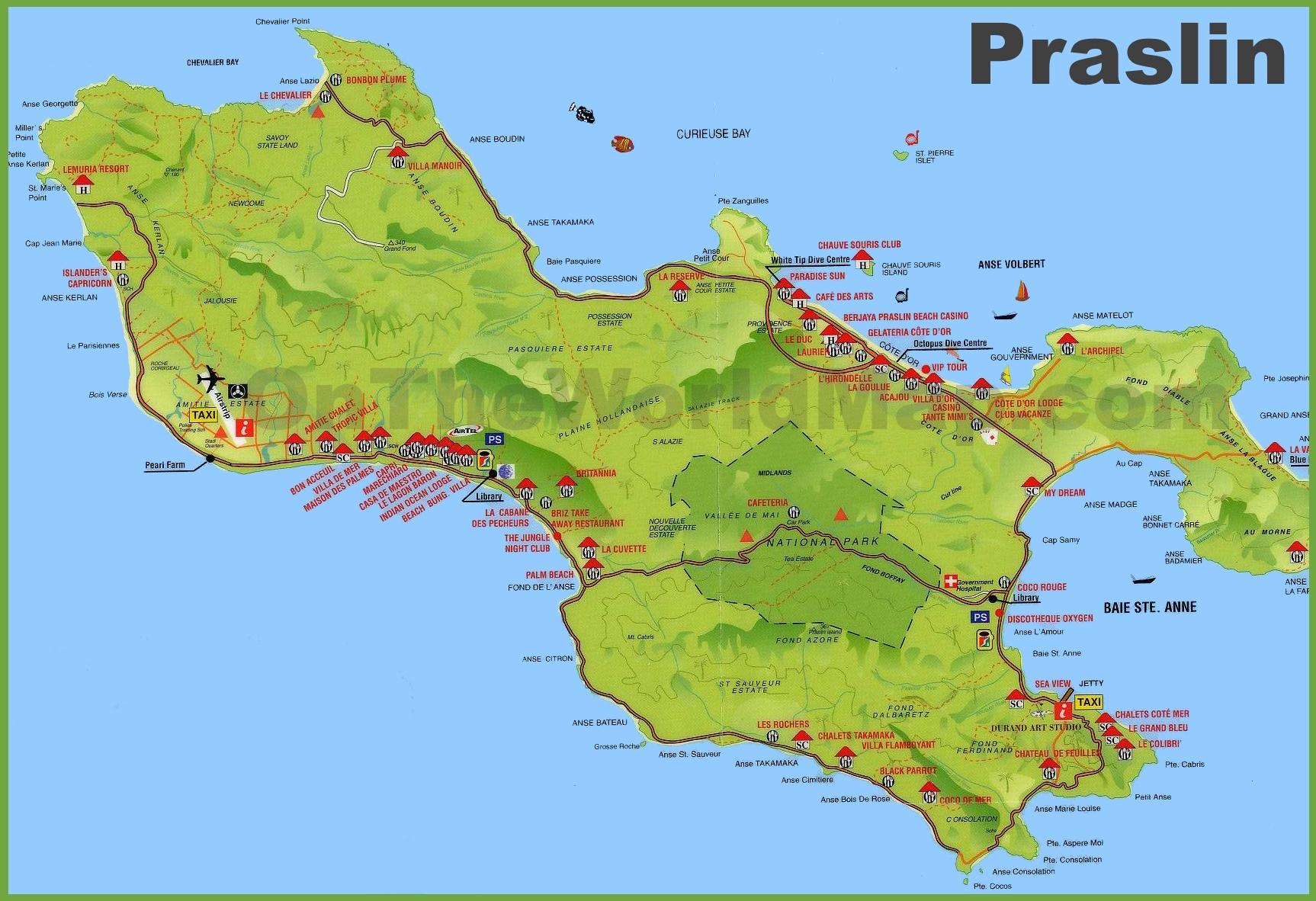 Praslin Island Seychelles World Map Praslin island map