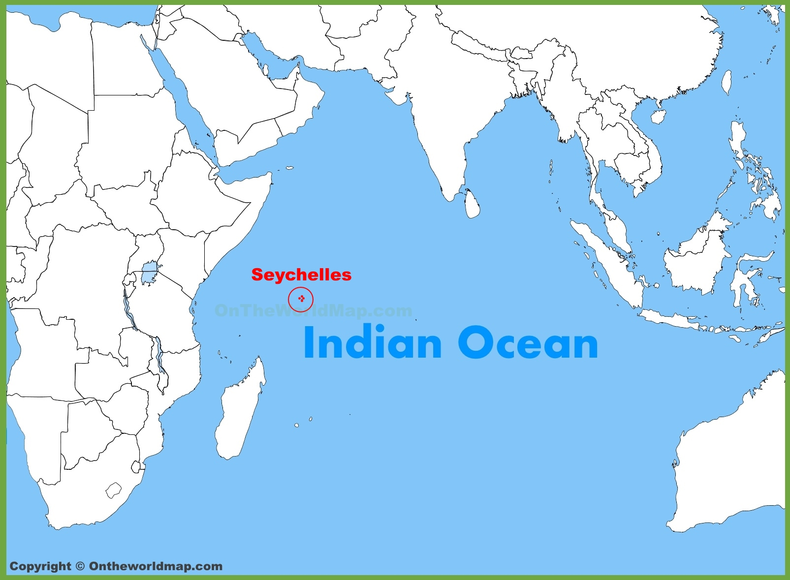 Seychelles location on the Indian Ocean map