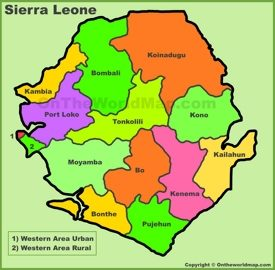 Administrative divisions map of Sierra Leone