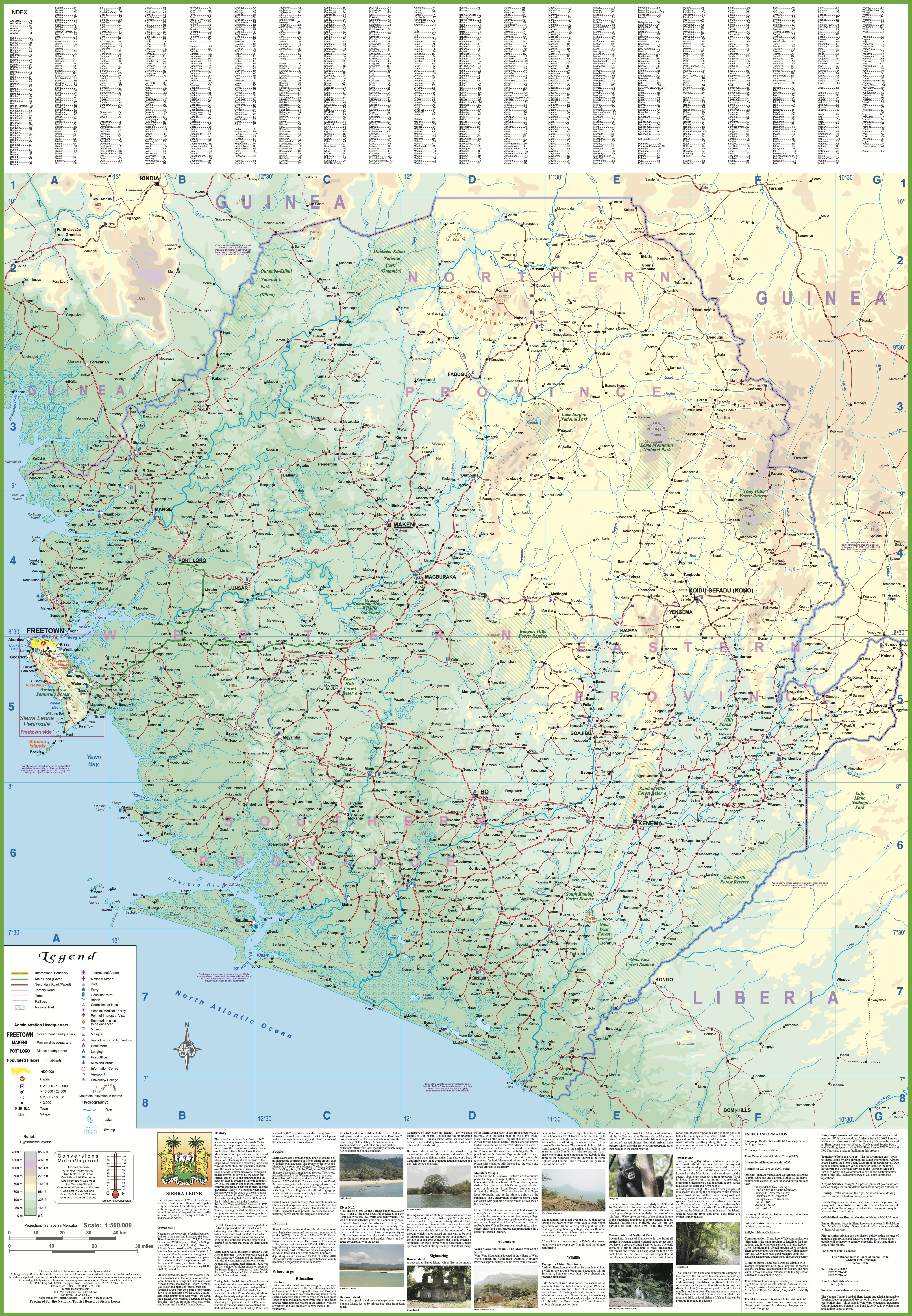 Large detailed tourist map of Sierra Leone