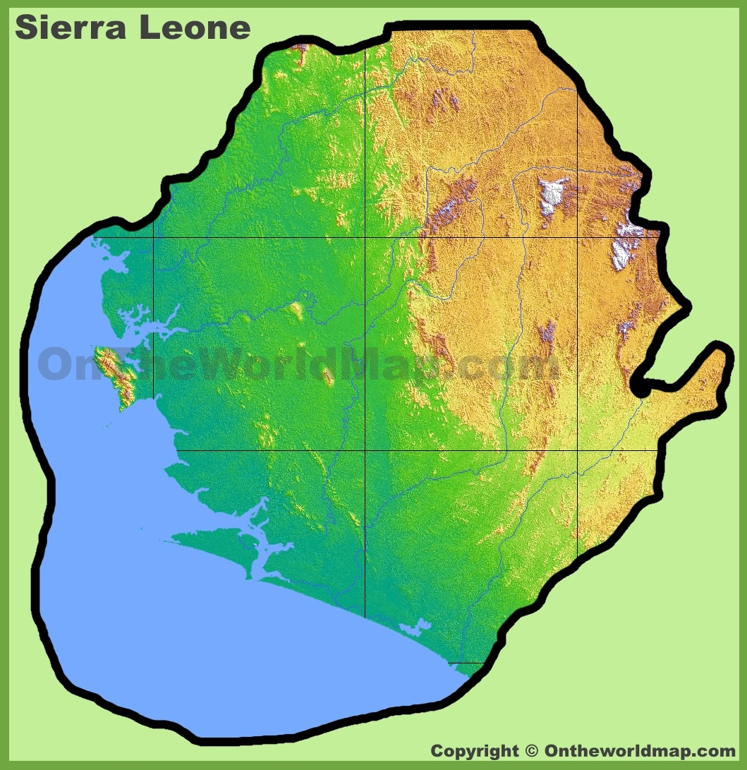 Sierra Leone Physical Map - Sierra leone map