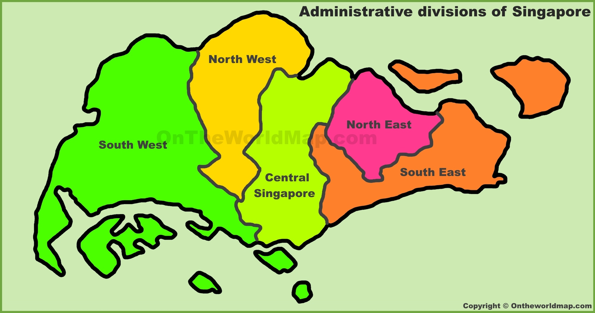 Administrative divisions map of Singapore
