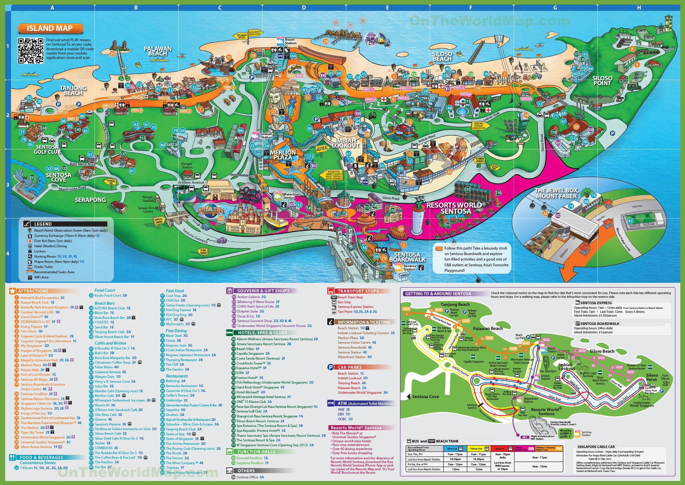 Map Sentosa Island Singapore Attractions Sentosa island map