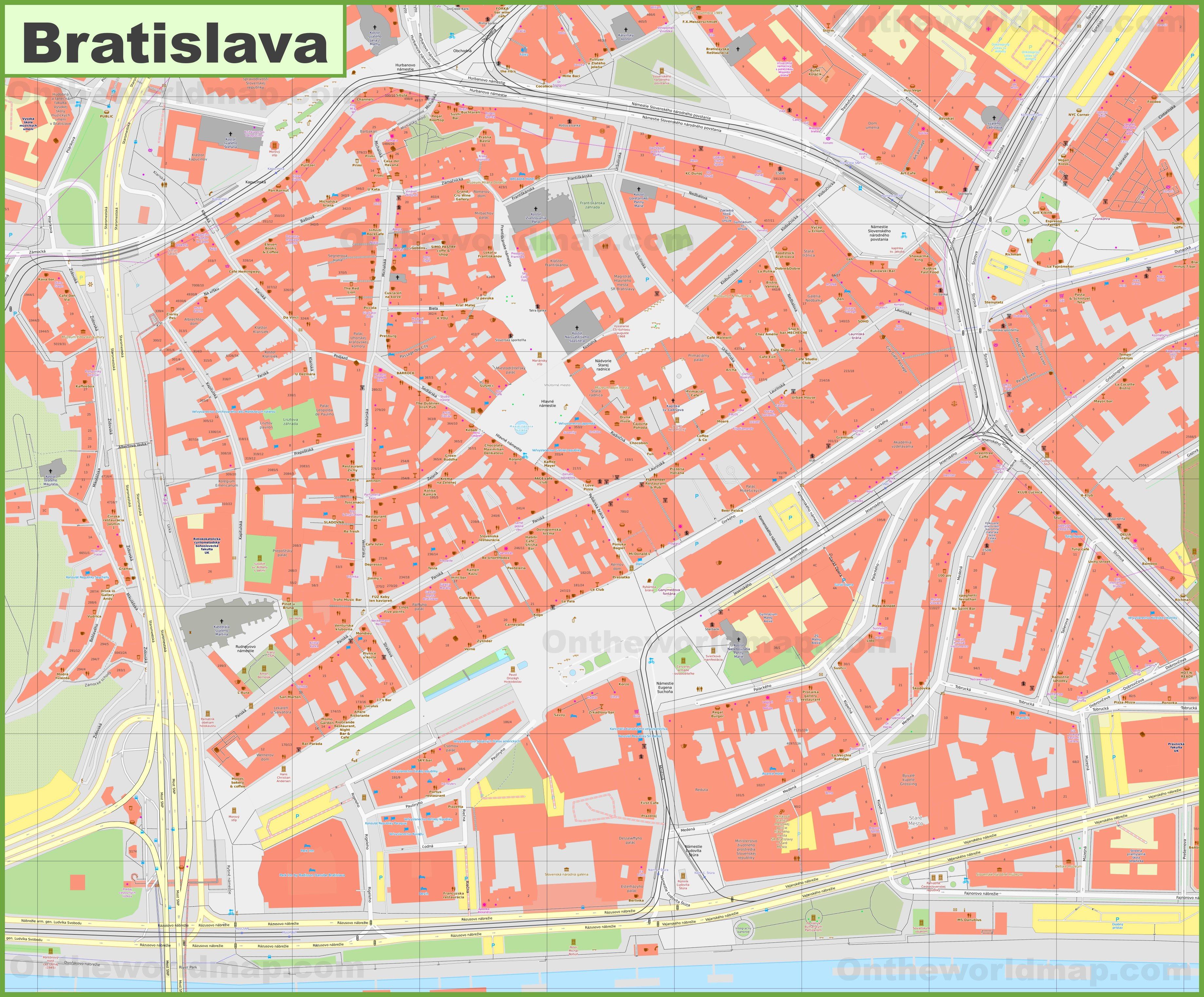 Bratislava Old Town Map