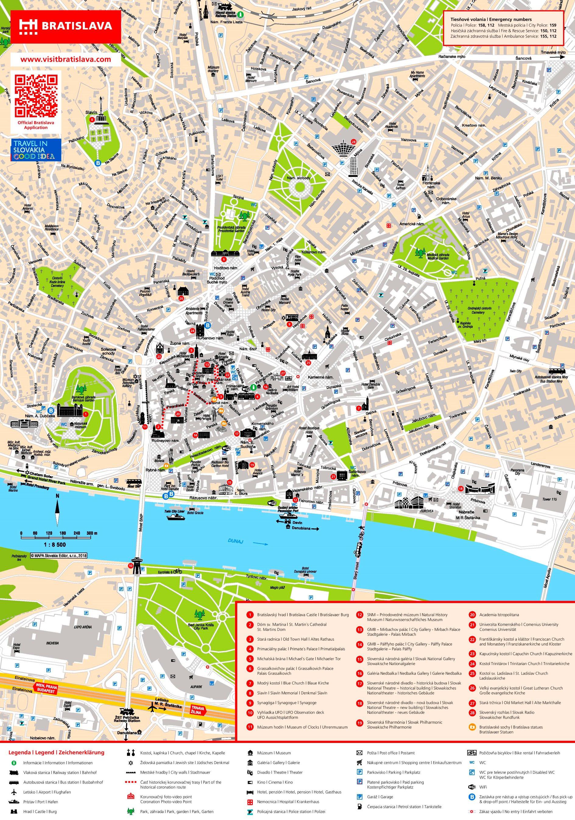 Stadtplan von Bratislava mit Sehenswürdigkeiten von ontheworldmap.com