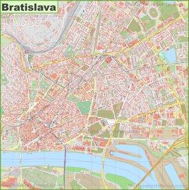Detailed map of Bratislava