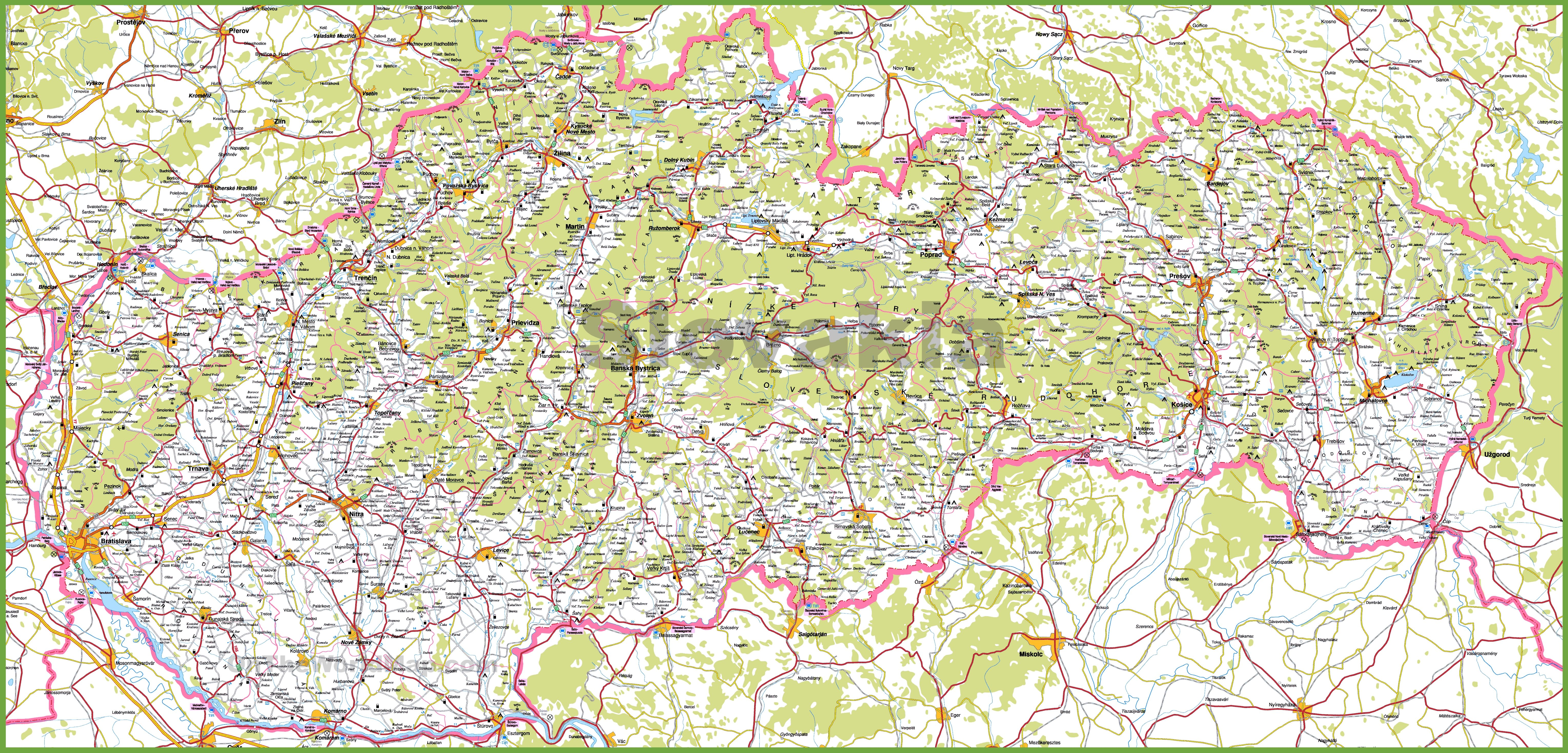 Map Of Slovakia Large detailed map of Slovakia with cities and towns Map Of Slovakia
