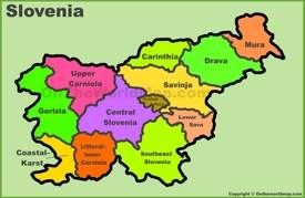 Administrative divisions map of Slovenia