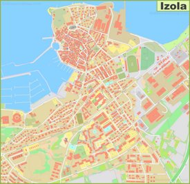 Large detailed map of Izola