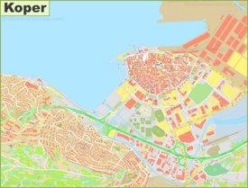 Large detailed map of Koper