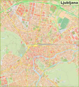 Large detailed map of Ljubljana
