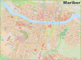 Large detailed map of Maribor