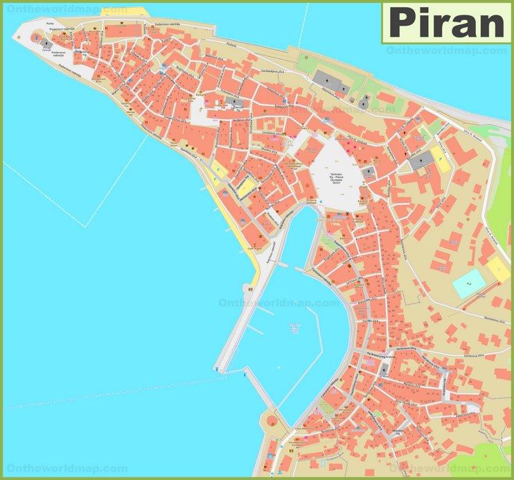 Large detailed map of Piran