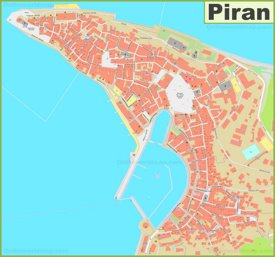 Large detailed map of Piran