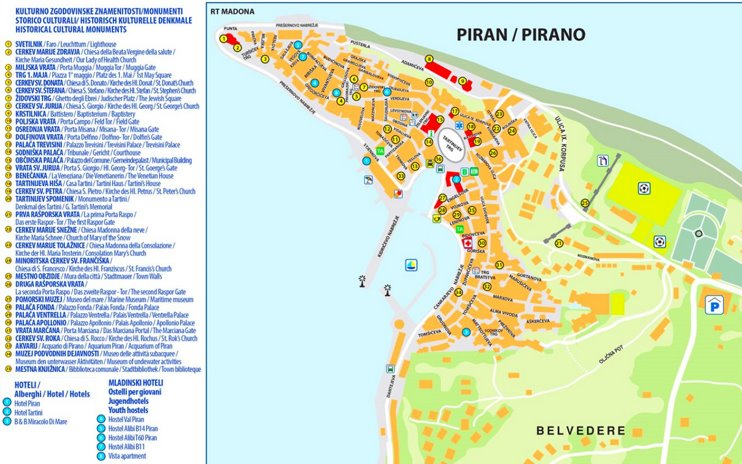 Piran hotels and sightseeings map