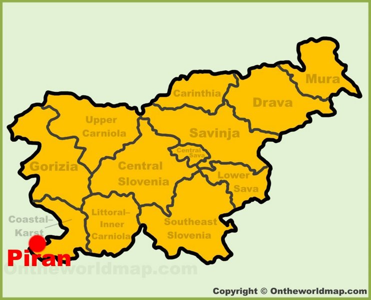 Piran location on the Slovenia Map