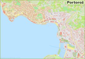 Large detailed map of Portorož