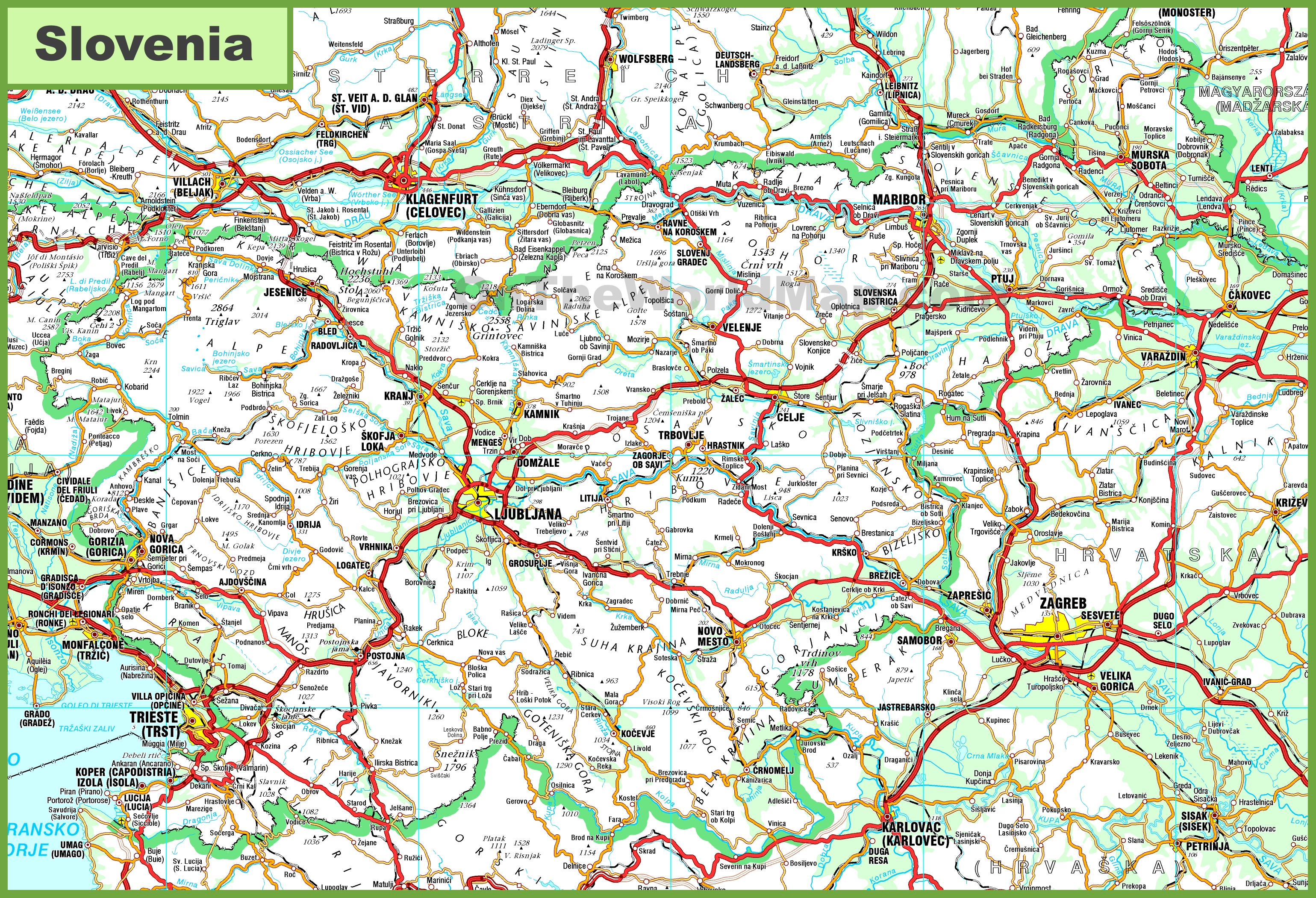 detailed map of Slovenia with cities and towns