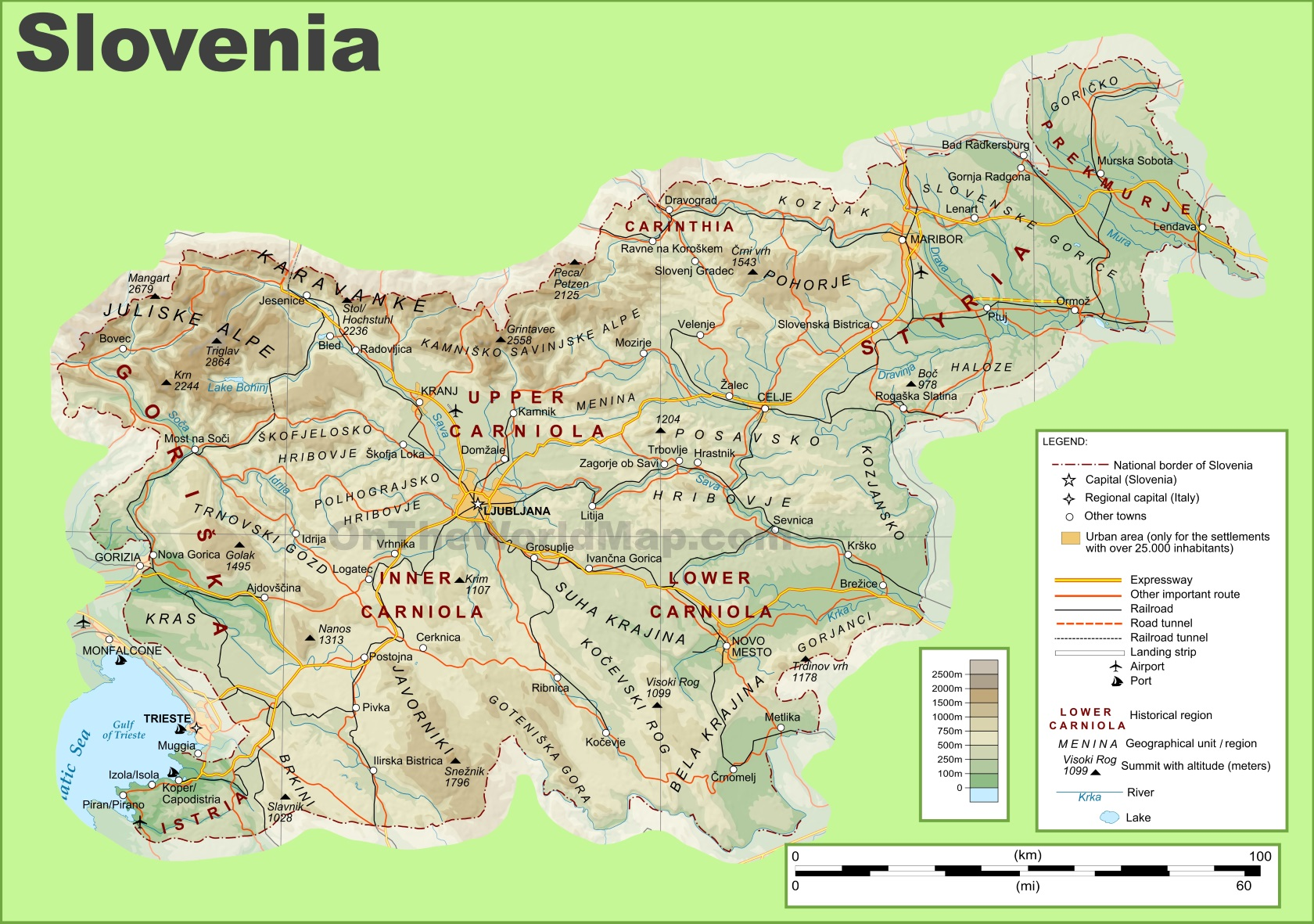 Slovenia physical map