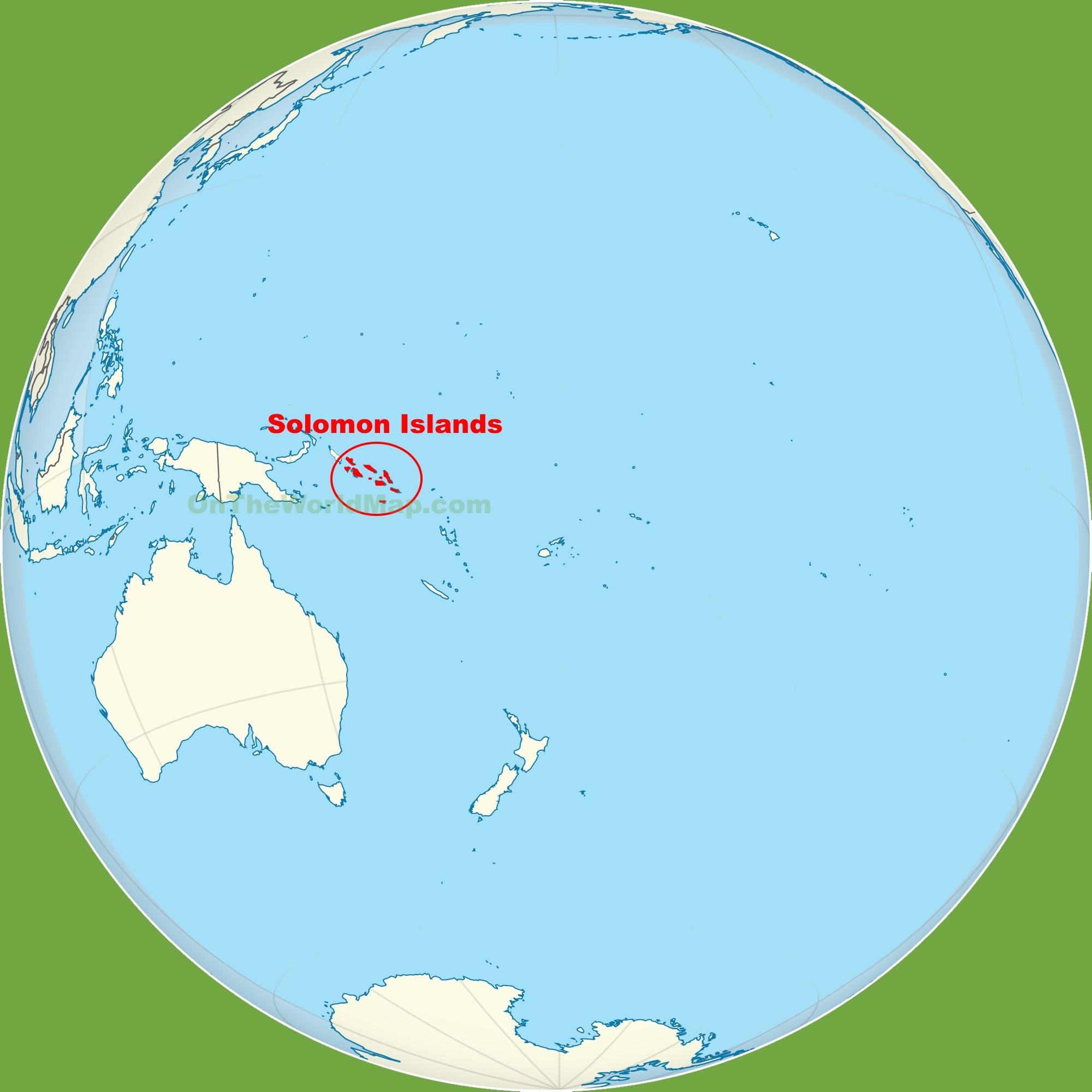 Solomon Islands location on the Pacific Ocean map