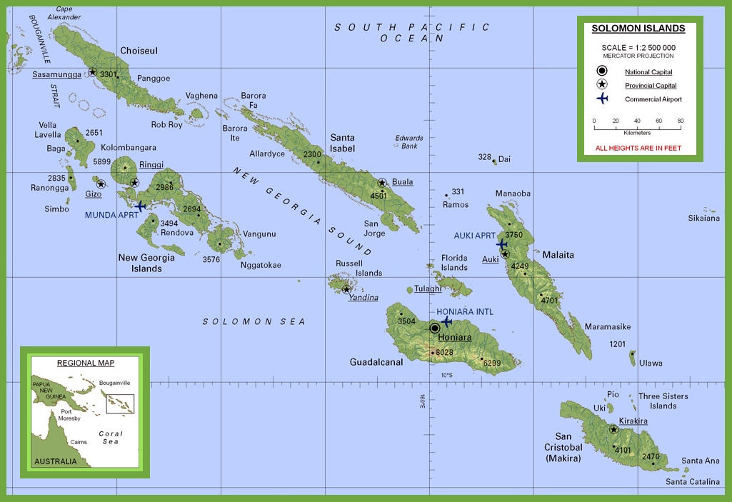 Solomon Islands physical map