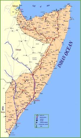 Large detailed map of Somalia
