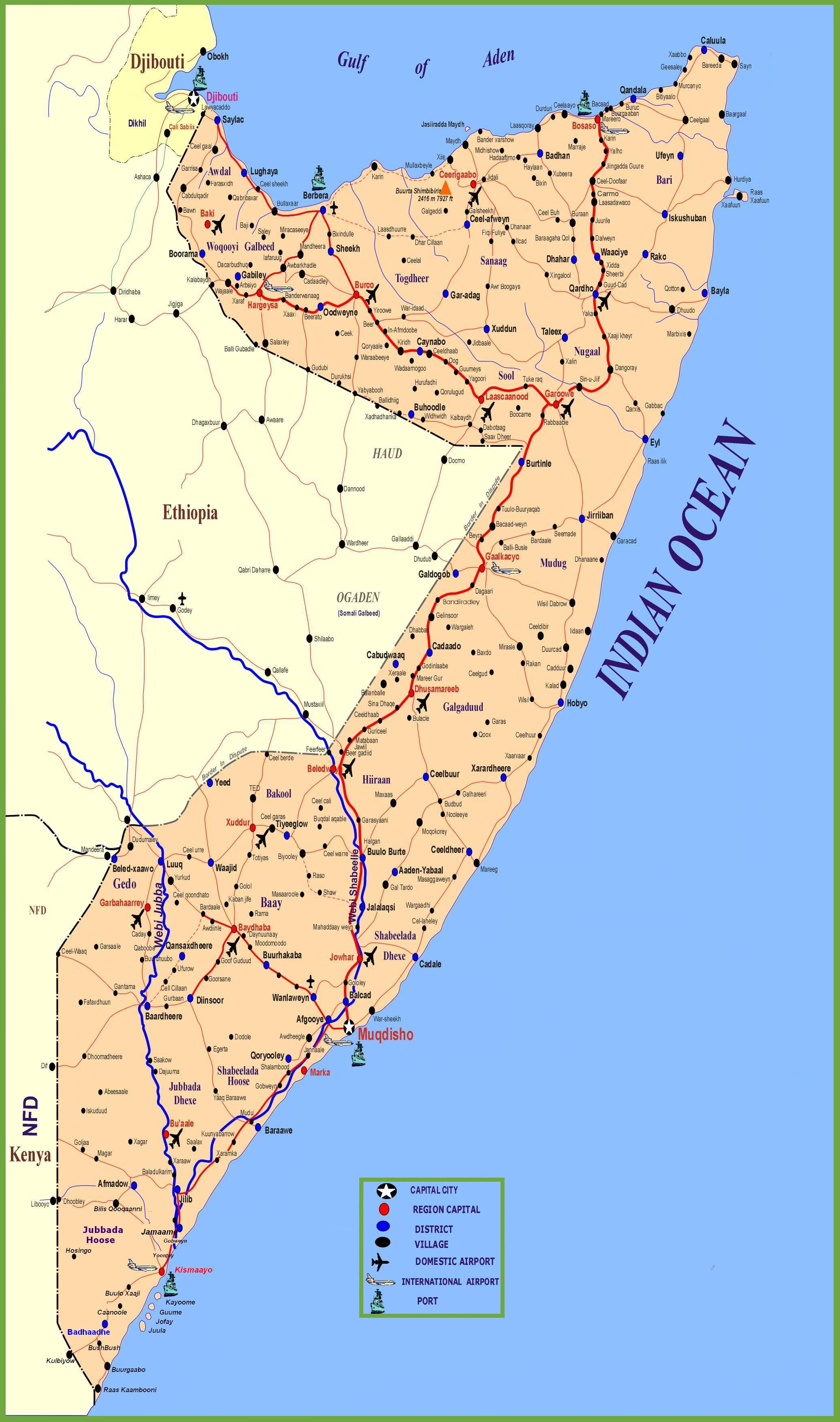 . large detailed map of somalia with cities and towns