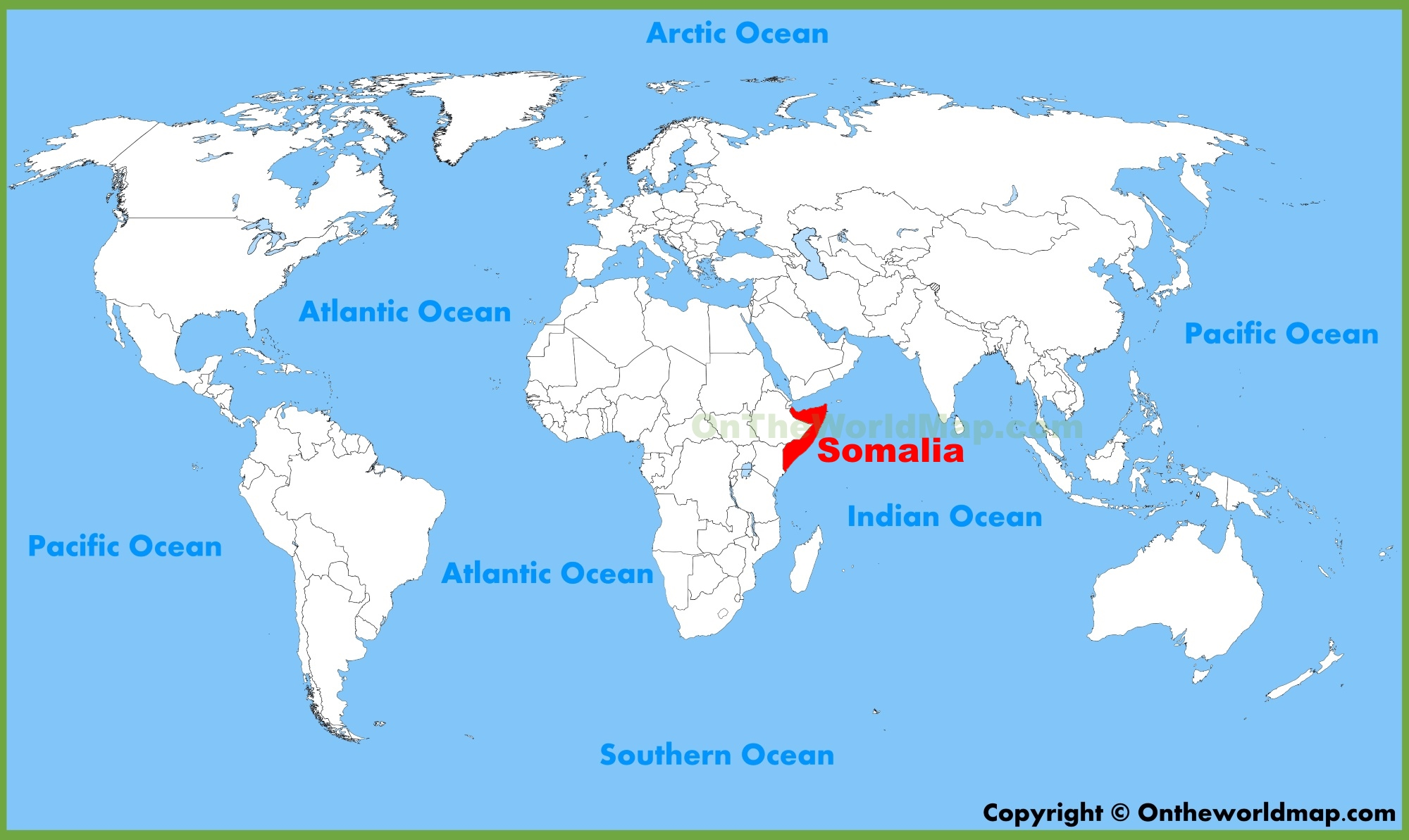 Somalia location on the World Map