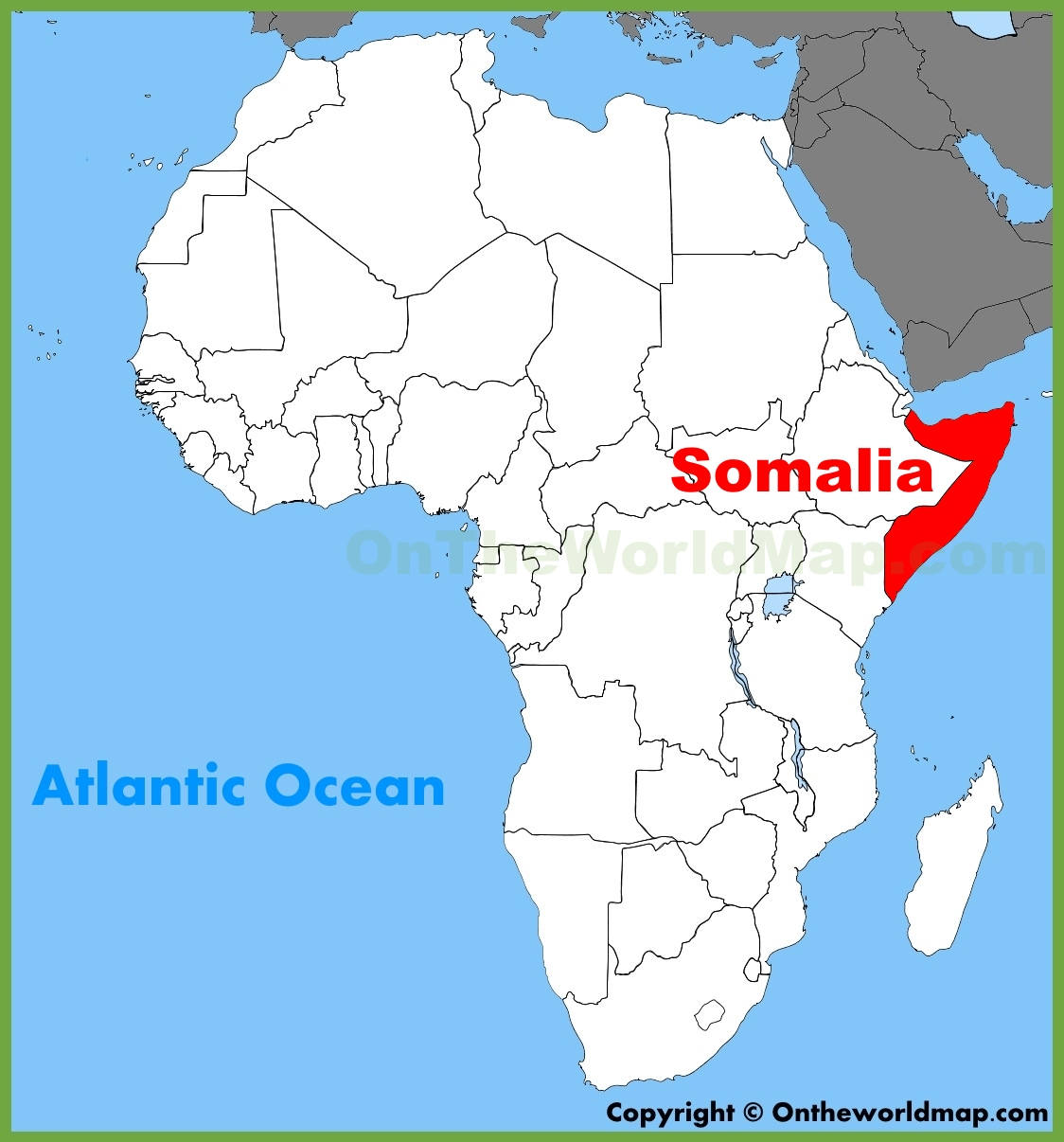 . somalia location on the africa map