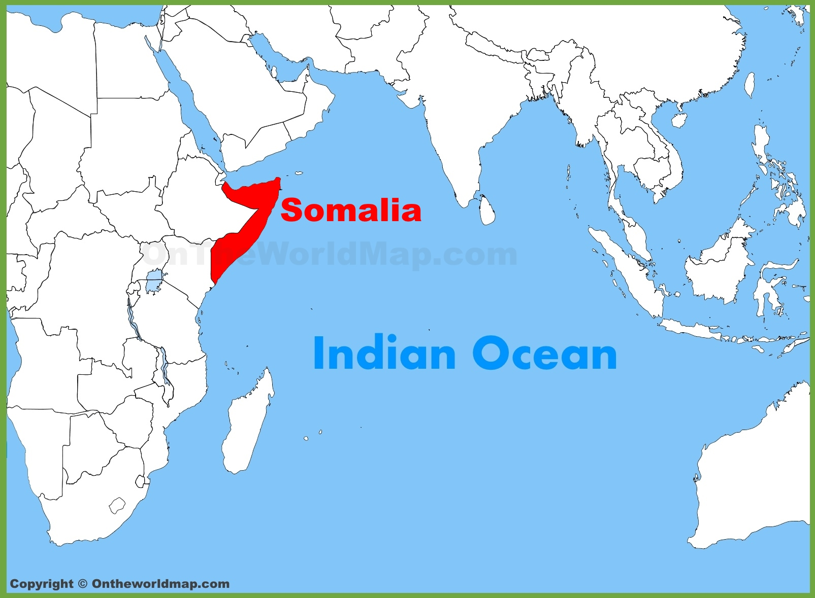 Somalia On World Map Somalia location on the Indian Ocean map Somalia On World Map