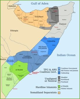 States and regions map of Somalia