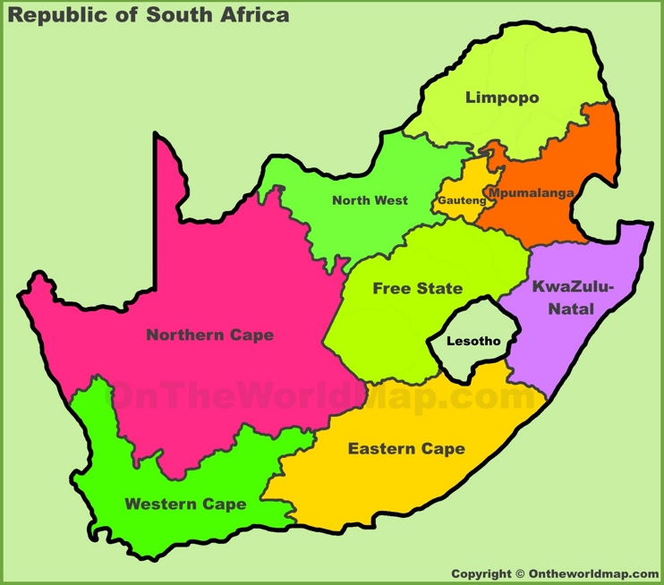 Administrative divisions map of South Africa